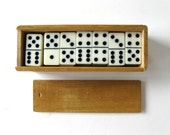 Vintage domino set in wood box, original wood box, jewelry supplies, repurpose, gift idea