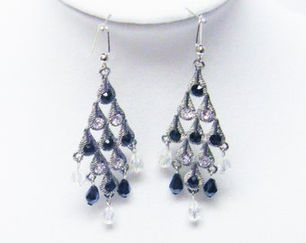 Silver Plated Chandelier w/Black & Clear Crystal Earring