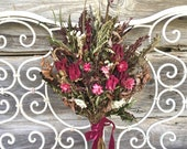 Dried Flower Bouquet Burgundy Blush Pink Ivory Natural Peony Natural Strawflower Magentia