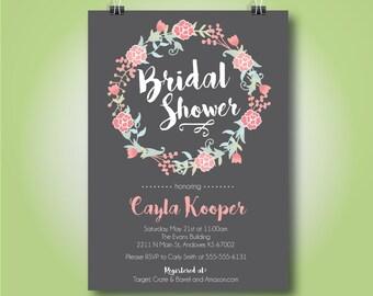 Floral Wreath Bridal Shower Invitation, Bridal Shower or Brunch Invitation, 5x7