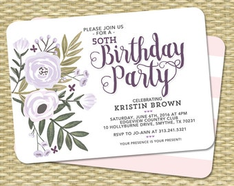 Adult Birthday Invitation Floral Invitation Adult Birthday Milestone Birthday 80th Birthday Invite