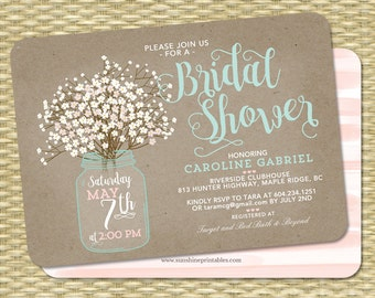 Rustic Bridal Shower Invitation Kraft Mason Jar and Baby's Breath Babies Breath Bridal Brunch ANY EVENT Any Colors