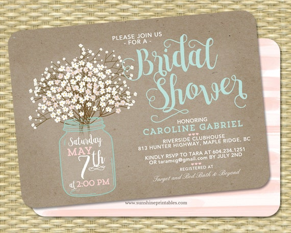 Rustic Baby Shower Menu ~ Rustic bridal shower invitation kraft mason jar and baby s