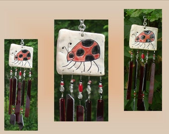 Ladybug Glass Windchime Pottery Tile Mobile Red Black Ceramic Chime Stained Glass Insect Bug Suncatcher Garden Hanging Decor