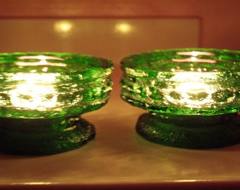 E O Brody Cracked Ice Green Candle Holders; Vintage 1960 Candle Holders' Heavy Green Glass Candle Holders; taper candle holders