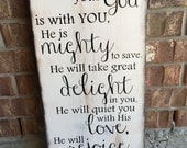 Scripture Art, Wooden Sign, Zephaniah 3:17