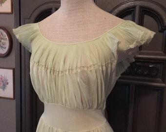 Pale Jadeite 40s Nylon Nightgown