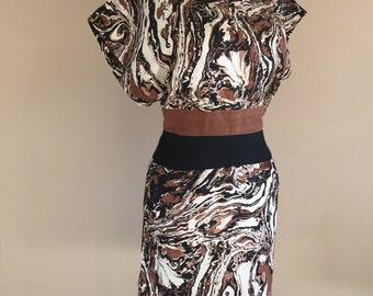 50s Estevez Marbled Pattern Day Dress