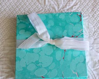 Handmade Brag Book - Hand-Marbled Hard Cover Blank Accordion Book
