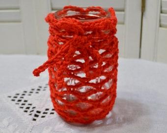 Crochet Mason Jar Pint Size Candle Holder Flower Vase Desk Craft Room Storage Red Littlestsister