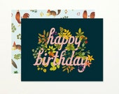 Botanic Birthday Card - Navy