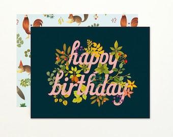 Botanic Birthday Card - Navy