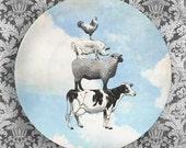 Animal Stack, sky melamine plate