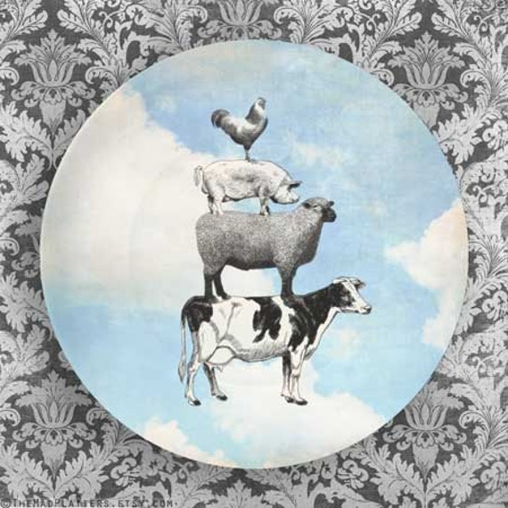 Animal Stack, sky melamine plate