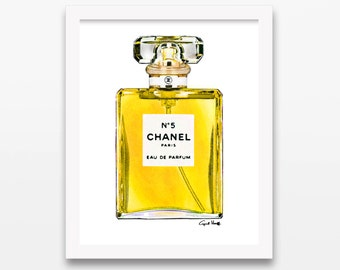 Coco Chanel Yellow Perfume No 5 Print | Wall Art, Fashion Illustration, Eau de Parfum, Watercolor Painting, Women, Girl Gift, Photo Drawing