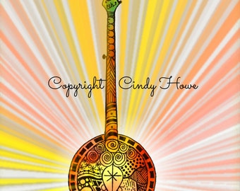 Digital art, Banjo, musical, instruments, acoustic instrument, bluegrass art, digital download, Banjo art,  Zentangle