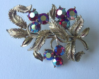 Vintage Stunning Unsigned Beauty/ Gold Tone Aurora Borealis Crystals