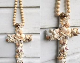 Blessing Beads Cross/Rosary Style Beaded Seashell Cross/Beach House Decor/Beach Wedding Cross/Boho Style Beach Art