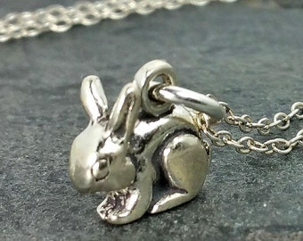 Tiny Rabbit Necklace - 925 Sterling Silver - 3d Bunny Pendant Charm Jewelry New