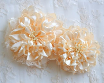 Set of Two Ivory Fabric Peonies, DIY Fabric Flowers, DIY Wedding Flowers, DIY Bouquet