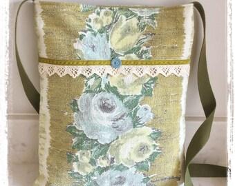 Vintage barkcloth fabric mini messenger bag - green floral