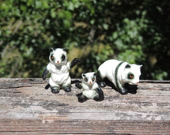 Set of 3 Tiny Pandas. Miniature Ceramic Panda Family Figurines.   VC332