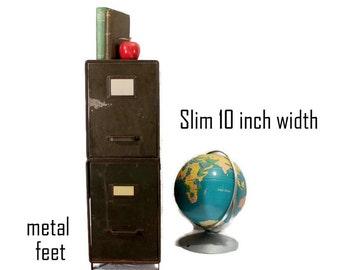 Vintage Metal Cabinet - Shaw Walker - Industrial End Table - 2 Drawer - Rustic Industrial - Army Green - Industrial Storage - Repurposed