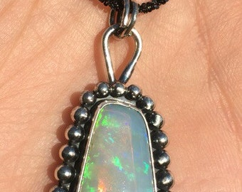 "Handcut Brazilian Crystal Opal Set in Oxidized Sterling Silver Setting with 30"" Blackened Silver Chain"