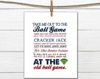 Baseball Print Take me out to the Ballgame  Pick your Team PDF Digital Download