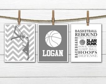 Basketball Print Set - Chevron - 3 Piece Set - Teen Boy's Decor - Choose Size and Colors CANVAS AVAILABLE