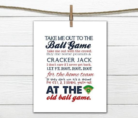 Baseball Print Take me out to the Ballgame  Pick your Team PDF Digital Download