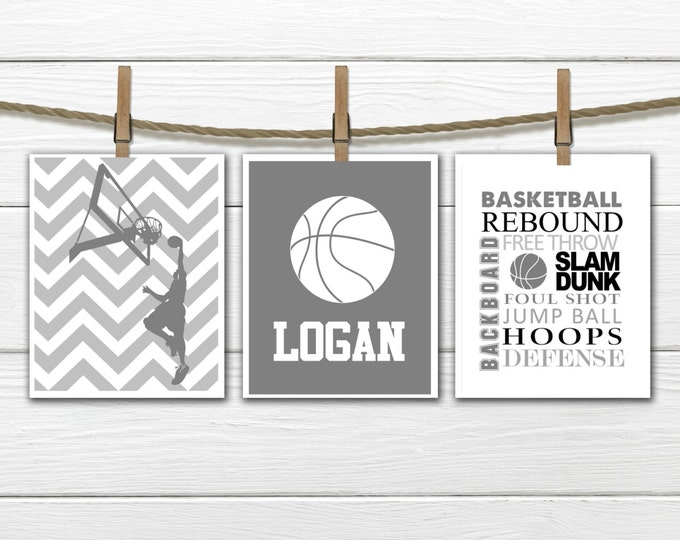 Basketball Print Set - Chevron - 3 Piece Set - Teen Boy's Decor - Choose Size and Colors CANVAS AVAILABLE