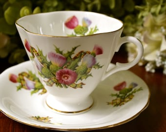 Clarence Fine Bone China Tea Cup and Saucer, Multi Color Floral Ribbon Motif, Gold Gilt, England