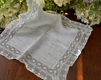 Vintage Net Lace Wedding Handkerchief, Light Ivory  3438
