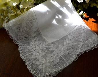 Vintage Austrian White Linen Wedding Handkerchief, Net Lace 3447