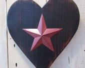 Primitive Heart with Burgundy Barn Star