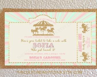 Carousel Birthday Invitation | Carnival Birthday invitation | Carnival Invitation | Carousel invitation