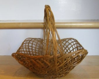 Vintage Basket - Medium Wicker Basket, Braided Handle Basket, Rustic Gathering Basket, Flower Girl Basket, Easter Basket, Country Chic Decor