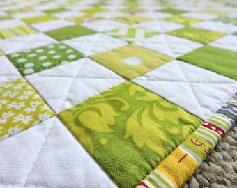 "Baby Quilt, Modern Green and White Patchwork for Baby/Child/Home Dec, 39"" x 47"""
