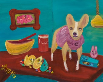 CUPCAKE and Her Peep Team, 11 x 14 Original  Oil Painting of Chihuahua Baking with Peeps by Lesley Mills from Merlin's Garden