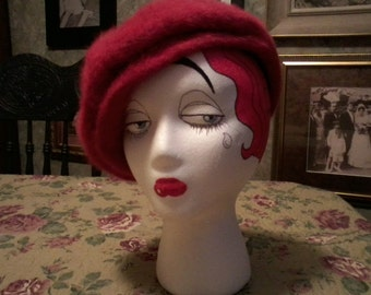 Red Wool Newsboy Hat