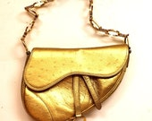 Christian Dior Saddle Bag Small Gold Handbag Mini Clutch