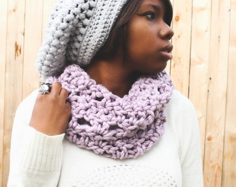 Ready To Ship!! Handmade Lavender Infinity Crochet Scarf. Only 1 Available!