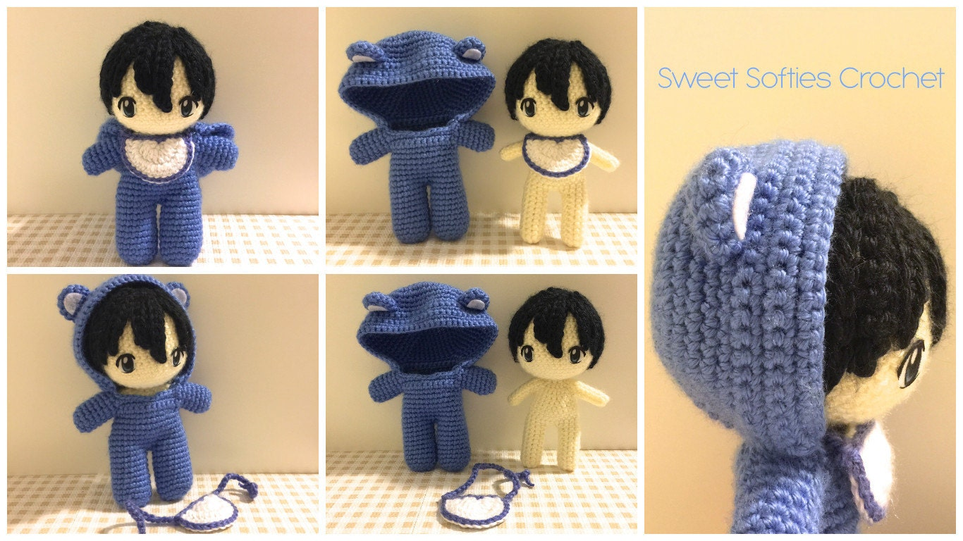 Baby In Bear Onesie Amigurumi Crochet Japanese Anime Doll