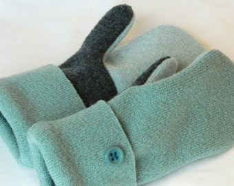 Felted Sweater Mittens - Mint Green/Charcoal Grey - Felted Wool Mittens - Wool Mittens - Kids - Small