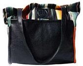 Diaper Bag Black Santa Fe- Handmade Bohemian Fabric & Leather -Environmentally Conscious- purse/antique/pouch/hand bag/designer/vintage/tote