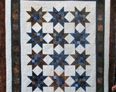 Reserved for Mari - Queen Batik Carpenter Star Quilt - Navy and Brown Carpenter Star Queen Batik Quilt