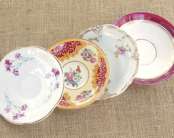 Elegant Shabby Chic Mismatched Saucers, Set of 4, Tea Party, Wedding, Cottage Chic, Vintage, Bridesmaid Inspired, Replacement China