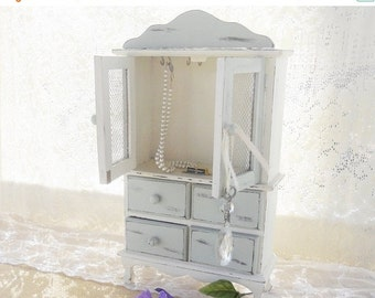On Sale Cottage Style Vintage Footed Jewelry Box, Chest of Drawers, French Decor, Shabby Chic