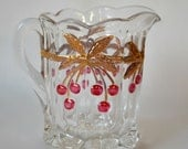 Mosser Glass Inc Pressed Clear Glass with Gold and Red Cherry Creamer